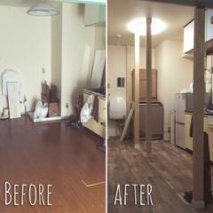 DIY/友達のおうち/絶賛DIY中/ワンルーム/キッチン 床も変わり、洗濯機も冷蔵庫も、 ライトも…
