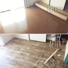 DIY/クッションフロア 床に、クッションフロアを敷きました。  …