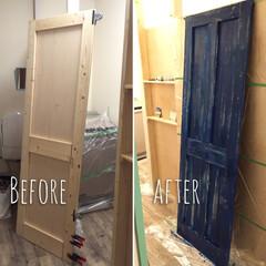 DIY/ドア作り/手作りドア/友達のお家/友達のおうち/絶賛DIY中/... ドアを作りました。 まだリメイクします。