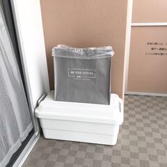 ポリプロピレントートバッグ/資源ゴミ置き場/バルコニー/資源ゴミ/シンプルライフ/マンション暮らし/... バルコニーに置いているペットボトルや 瓶…