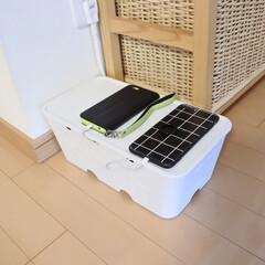 マンション暮らし/シンプルな暮らし/ケーブル収納/コンセント収納ボックス/収納ボックス/スマホ充電ボックス/... 我が家のスマホ充電ステーション😊 キッチ…
