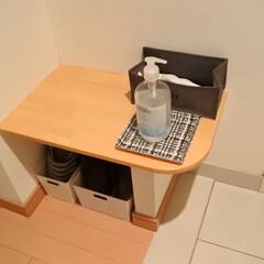 マンション暮らし/シンプルな暮らし/暮らしを整える/暮らし/アルコールジェル/除菌対策/... 玄関入った場所にマスクボックスとアルコー…