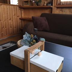小物収納/収納ボックス/木材/木工/木/小物/... セリアのボックスとトレーの組み合わせで簡…