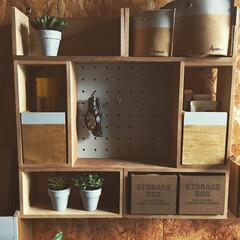 棚/すっきり収納/ボックスリメイク/ボックス/簡単リメイク/壁面収納/... セリアのボックスを組み合わせて、息子の部…