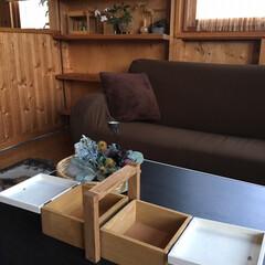小物収納/収納ボックス/木材/木工/木/小物/... セリアのボックスとトレーの組み合わせで簡…(2枚目)