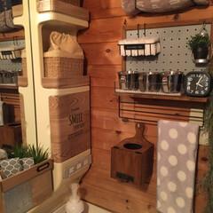 壁面DIY/壁面収納/パンチングボードリメイク/パンチングボード/洗面所収納/壁掛けゴミ箱/... おはようございます☀ 洗面所に100均リ…