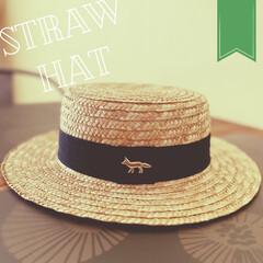 カンカン帽/summercoordinate/summer/夏仕様/ストローハット/キツネ/... Maison KITSUNEの stra…