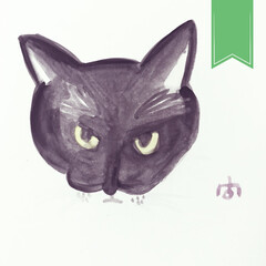 くろねこ/黒猫/下手くそ/1歳1ヶ月/こんぶ/はがき/... 水彩画。 こんぶの写真を見ながら。 絵の…