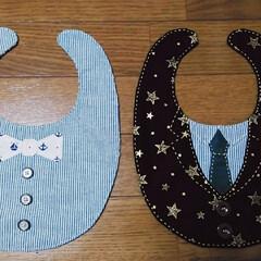 ベビーグッズ/赤ちゃん/オリジナルデザイン/手縫い/100均/ハンドメイド 蝶ネクタイとスーツのオリジナルスタイ♪ …