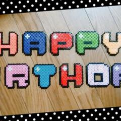 ドット/誕生日/ハッピーバースデー/アイロンビーズ/パーラービーズ/DIY/... 先日息子が一歳の誕生日を迎えたので写真撮…