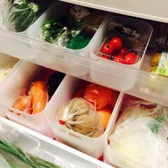 冷蔵庫/無印良品/メイクボックス/MUJI/冷蔵庫収納 野菜庫の仕切りにはMUJIのメイクボック…