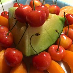 さくらんぼ/アプリコット/メロン/至福のひととき/おやつタイム いただいた、フルーツ盛り合わせて みまし…