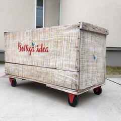 DIY/収納の工夫/リノベーション 八百屋さんにもらった木箱を白く汚し、ステ…