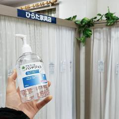 アルコールハンドジェル 500mL×10本(ハンドケア)を使ったクチコミ「ひらた家具店では店内に手の消毒液が置いて…」
