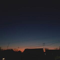 標茶/冬/空/夕焼け/ひらた家具店 ひらた家具店の2階の窓から。 夕日落ちた…