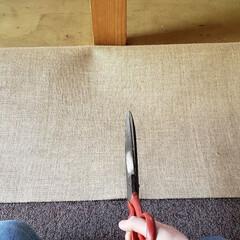 じゅうたん/カーペット/ハサミ/工具/仕事中/ひらた家具店/... カーペットを敷く時、柱などを避けるために…