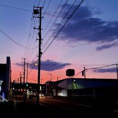 日没/夕焼け/標茶/北海道/道東/平田家具店/... 閉店時間になったのでお店を閉めようと外に…