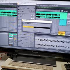 音楽/音声編集/パソコン/趣味/ひらた店長/ひらた家具店 店長(弟)のパソコン画面。 音のデータを…(1枚目)