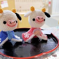 牛/酪農/ぬいぐるみ/小物/雑貨/あみぐるみ/... こちらは「あみぐるみ」の牛さんの雛人形で…