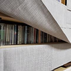 布/目隠し/棚/ひらた店長/店長/ひらた家具店/... 自分の部屋のCDを並べている棚に布で目隠…