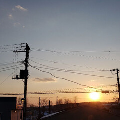春/空/夕陽/夕日/ひらた家具店/風景/... 本日の北海道、標茶(しべちゃ)の夕日。 …(1枚目)
