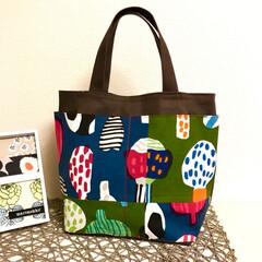 marimekko/雑貨/おでかけ/ハンドメイド/ファッション クークナ2色のパッチトート  4枚目の …