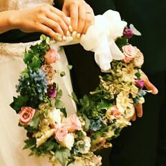 リース/ブーケ/結婚式/プリザーブドフラワー/ハンドメイド 二男の結婚式にお嫁さんに作りました。