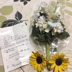 ひまわり/百合/仏花/クレイアート/フォロー大歓迎/ハンドメイド R/Fさんにお願いしていた仏花が届きまし…(1枚目)
