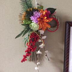 お正月飾り/しめ縄リース/お正月/100均/ダイソー/セリア しめ縄リース、昨日友達と家で作りました。…