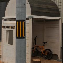 屋根/自作/自転車/トリマー/DIY/自転車置き場/... 宅配ボックスに加えて自転車置き場を自作し…(4枚目)