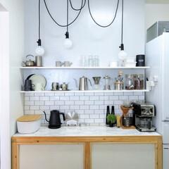 台所/DIY/キッチン/キッチン雑貨/雑貨/インテリア/... サブウェイタイル柄の壁紙を壁に。DIYし…