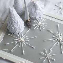 アイデア公開/手芸/100均/ダイソー/インテリア/DIY/... 【わたしの手作り】雪の結晶とツリー、サン…