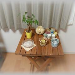 カジュマル/グリーン/キャンドル/緑/樹木/お花/... 2階リビングの一角、ガーデンテーブルにキ…
