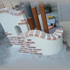 門袖/DIY/レンガ/プロヴァンス/洋風外構/塀/... 殺風景だった玄関周りに門袖をDIYしまし…