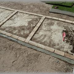 人工芝/レンガ/芝庭 2014年春 庭に芝生を張りたくて・・・…