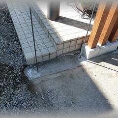 ブロック基礎/門袖DIY/飾り柱 ウッドデッキの余り材を使い90角の飾り柱…