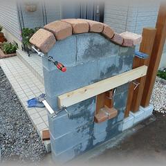笠木レンガ/門袖DIY ブロック幅に合わせ幅を切り詰めての笠木レ…