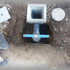 排水目皿/排水溝/排水パイプ 新設した排水升に雨水が流れ込むよう、排水…