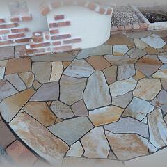乱形石/目地色/目地セメント 門袖との位置関係 後は目地を入れて完成です