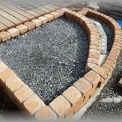 基礎/下地/テラスDIY/階段 石張りの石厚さ、張りつけようバサモルの厚…