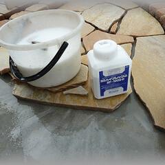 バサモル/ノロ/ハイフレックス/混和剤/接着増強剤 並べた石を一列ずつ外し、ハイフレックス希…