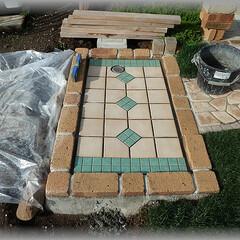 タイル目地/カットタイル/タイル流し/洗い場タイル/DIYタイル張り/洗い場つくり/... 後は目地入れしたら完成です。