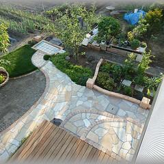 洗い場/タイル張り/流し/DIY/雨水排水/雨の日/... お庭から畑への途中に足洗い場を造ってみま…