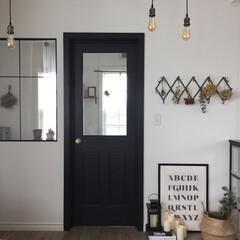 ドライフラワー/インテリア/イケア/IKEA/室内窓/注文住宅/... リビングから書斎に繋がるドアを黒くするこ…
