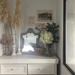 季節の花/ディスプレイ/季節を感じる/チェスト/DIY/花のある暮らし/... リビングに季節の花を飾れるコーナーを作っ…