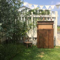 木製ガーランド/花のある暮らし/ガーデン/ガーデニング/外用ゴミ箱/アウトドア家具/... LIMIAさんの記事を見て突如ダンナさん…
