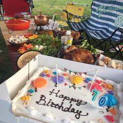 コストコ/バースデーケーキ/キャンプ/キャンプ飯/アウトドア飯/アウトドア/... コストコで売っている巨大なケーキ! 大人…