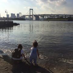 水遊び/お台場/お台場海浜公園/夏の思い出/夏休み/おでかけ 夕方のお台場。 今年は暑かったのでお台場…