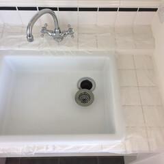 オキシクリーン/タイル/造作/洗面所/インテリア/住まい/... 洗面所のお掃除。 我が家の洗面所は造作の…