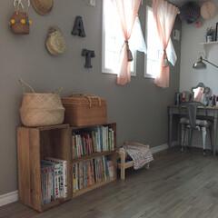 子供部屋/カゴ/りんご箱リメイク/りんご箱/フォロー大歓迎/DIY/... 子供部屋をしつこく違う角度で(笑) 子供…